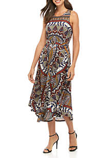 New Directions® Sleeveless Print Tie Front Dress