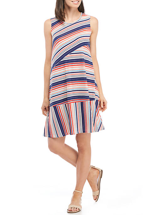 New Directions® Sleeveless Mixed Stripe Open Back Swing
