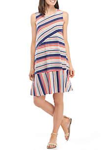 Sleeveless Mixed Stripe Open Back Swing Dress