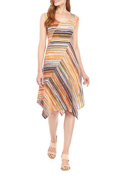 Sleeveless Stripe Swing Dress