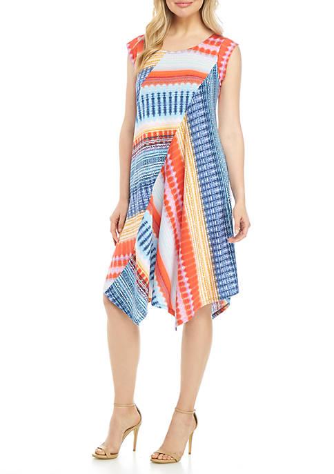 Short Sleeve Pointed Hem Multi Aztec Stripe Dress