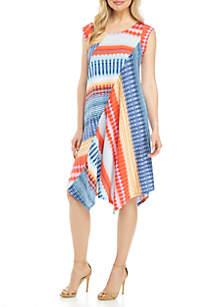 New Directions® Short Sleeve Pointed Hem Multi Aztec Stripe Dress