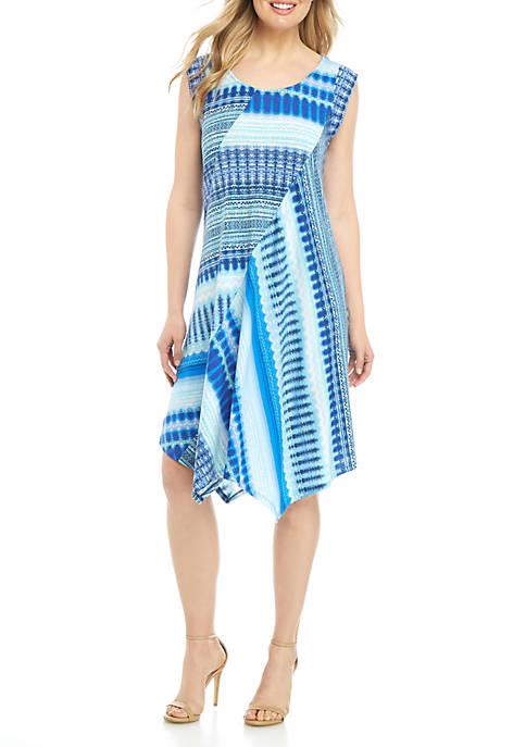 Cap Sleeve Pointed Hem Multi Aztec Stripe Dress