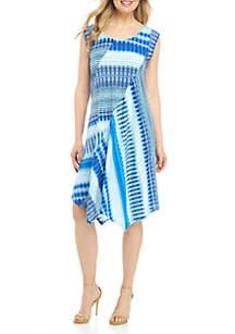 New Directions® Cap Sleeve Pointed Hem Multi Aztec Stripe Dress
