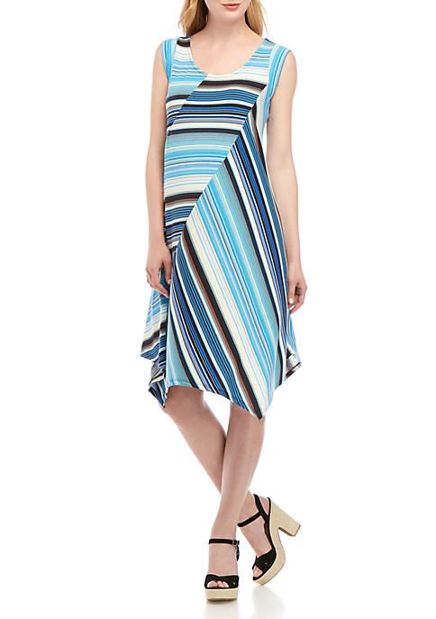 Sleeveless Stripe Trapeze Dress