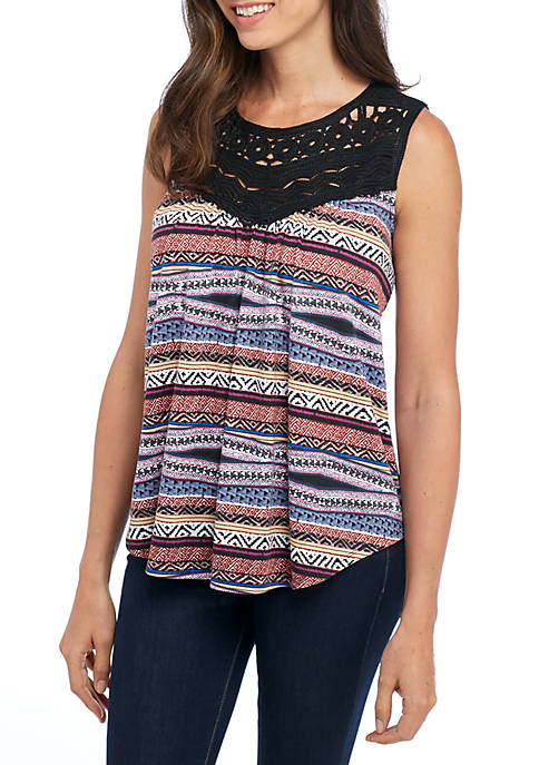 New Directions® Sleeveless Geometric Stripe Tank with Crochet