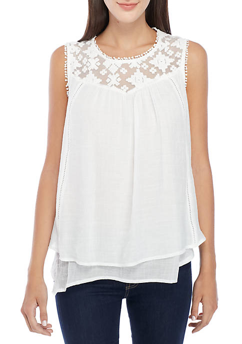 New Directions® Sleeveless Crochet Bib Gauze Top