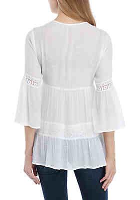 1017083b7a7 ... John Paul Richard 3/4 Sleeve Crochet Inset Linen Slub Tunic ·  Doorbuster. White