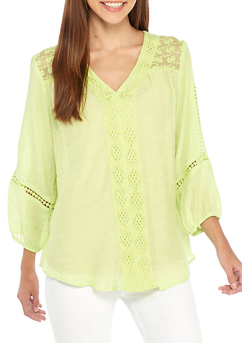 New Directions® Contrast Trim Blouse