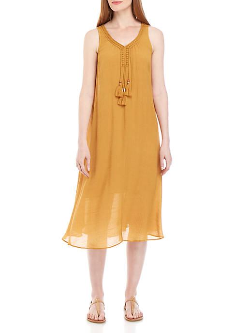 Sleeveless Crochet Tassel Swing Dress