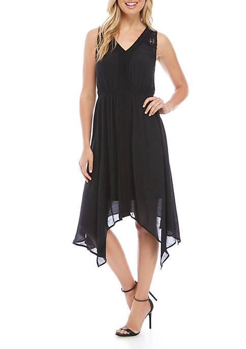 Womens Sleeveless Crochet Front Dress