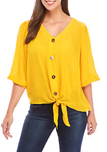 New Directions® 3/4 Sleeve Button Down Textured Tie Front Top
