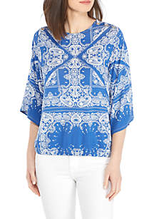 Three-Quarter Sleeve Patchwork Paisley Grommet Banded Blouse