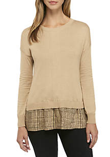 Woven Contrast Sweater