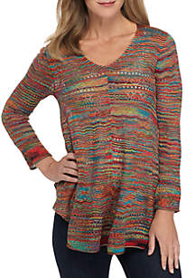Three-Quarter Sleeve Small Pointelle Stitch Pullover