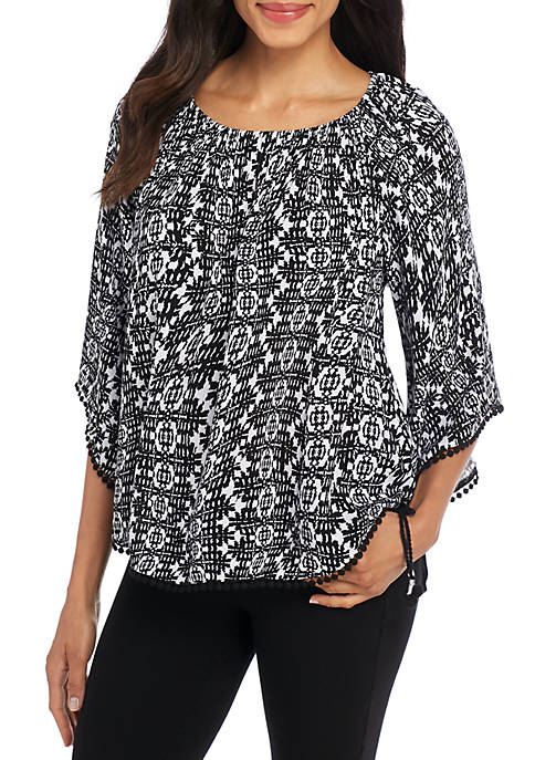 New Directions® Three-Quarter Sleeve Side Ties Gauze Top