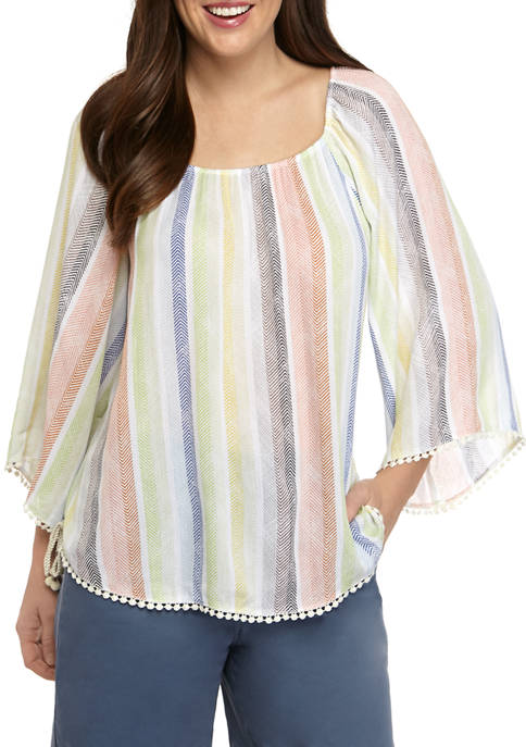 New Directions® Womens Flare Sleeve Pom Pom Trim