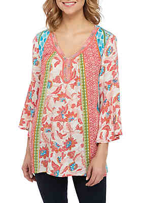 99246f7e3 New Directions® 3/4 Sleeve Printed Peasant Top with Rope Neckline ...