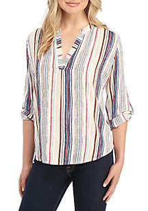 New Directions® 3/4 Sleeve Stripe Popover Top