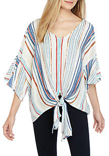 New Directions® Short Sleeve Tie Front Striped Woven Top