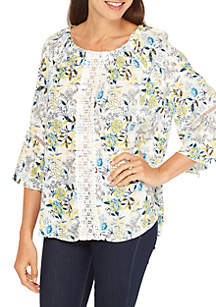 Three-Quarter Sleeve Crochet Front Inset Floral Print Top