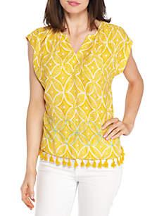 Short Sleeve Boxy Blouse with Embroidered and Fringe Hem
