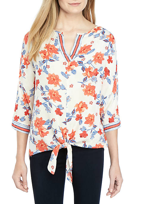 New Directions® 3/4 Sleeve Printed Floral Woven Top