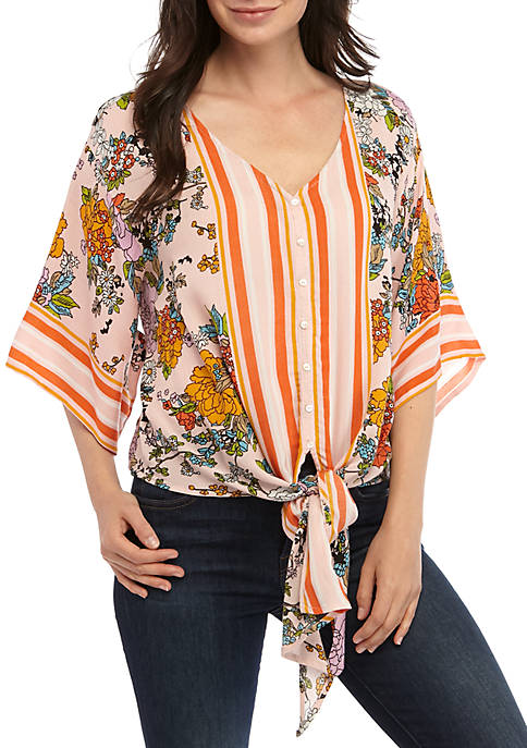 New Directions® 3/4 Sleeve Printed Button Front Top