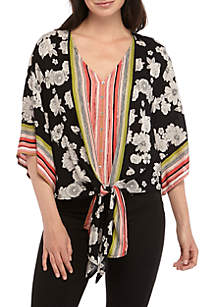 New Directions® 3/4 Sleeve Printed Tie Front Top