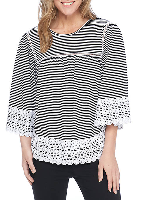 New Directions® Three-Quarter Sleeve Striped Crochet Knit Top