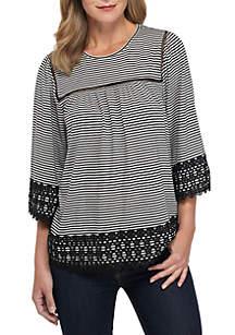 3/4 Crochet Sleeve and Hem Striped Knit Top