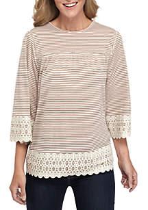 Three-Quarter Crochet Sleeve and Hem Striped Knit Top