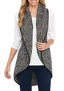 Sleeveless Marled Sweater Vest with Leather Trim
