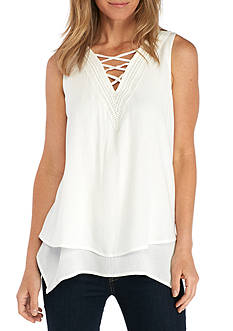 New Directions® Sleeveless Lace Front Blouse