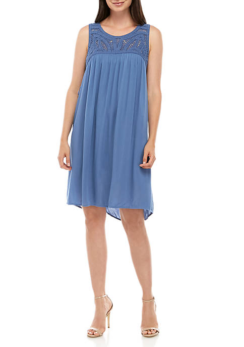 New Directions® Solid Woven Dress with Crochet Trim