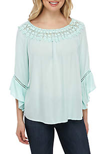 New Directions® 3/4 Sleeve Solid Gauze Top with Crochet Neck