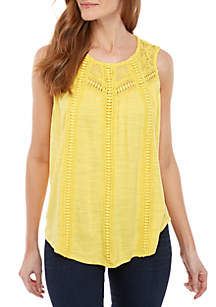 New Directions® Sleeveless Gauze Top with Crochet Inset