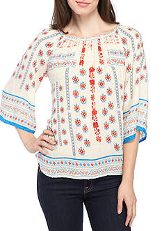 New Directions® Printed Elastic Neck Three-Quarter Sleeve Peasant Blouse