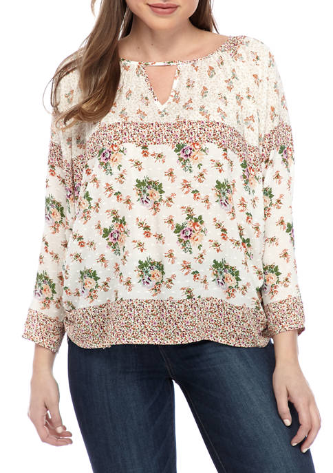 New Directions® Womens 3/4 Sleeve Floral Blouse