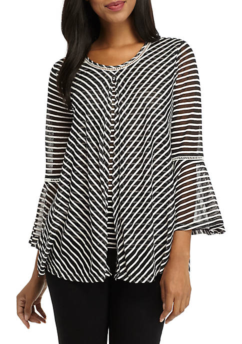 New Directions® 3/4 Sleeve Burnout Stripe Knit Top