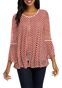 3/4 Sleeve Burnout Stripe Knit Top