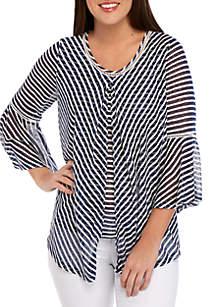 New Directions® 3/4 Sleeve Burnout Stripe Flyaway Knit Top
