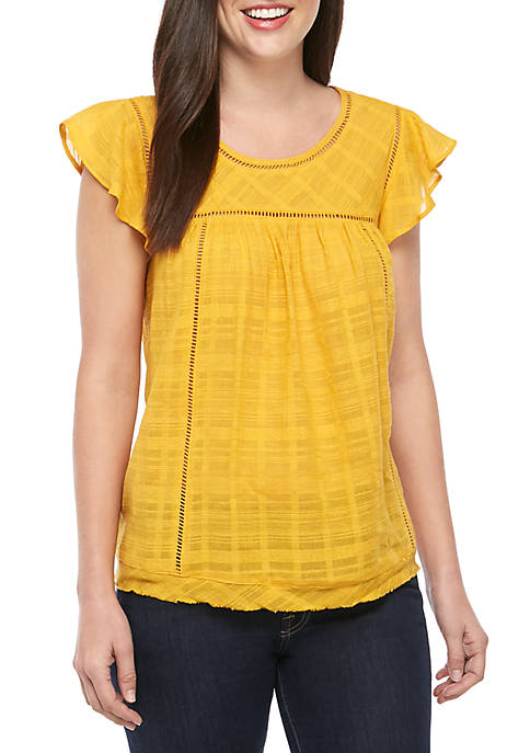 New Directions® Woven Flutter Sleeve Top
