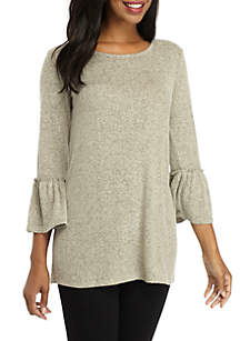 Three-Quarter Bell Sleeve Solid Hacci Top