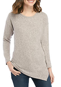New Directions® 3/4 Sleeve Asymmetrical Hacci Top
