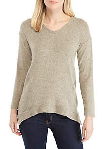 New Directions® Long Sleeve Hacci Top with Rib Sides