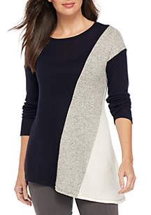 Long Sleeve Asymmetrical Colorblock Knit Top