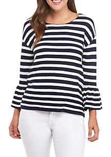 3/4 Bell Sleeve Ribbed Knit Top