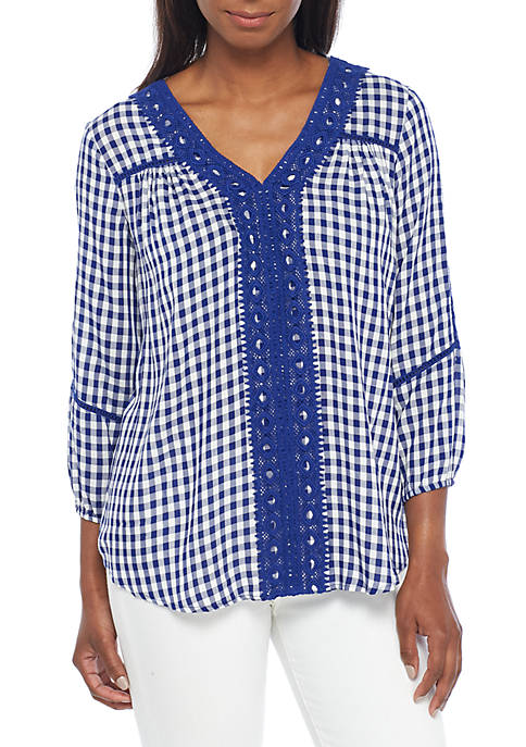 New Directions® Three-Quarter Sleeve Crochet Front Gingham Top