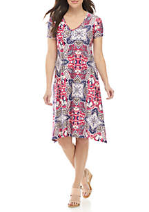 New Directions® Floral Short Sleeve A Line Dress